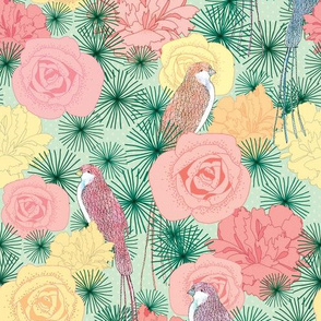 Sunny Birds (Mint & Coral)