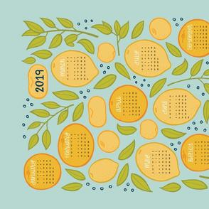 2019 Citrus Tea Towel Calendar - Robin's Egg