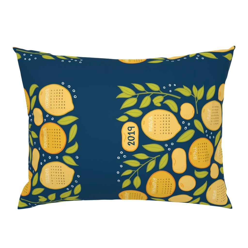 Campine Pillow Sham featuring 2019 Citrus Tea Towel - Navy by jaymehennel