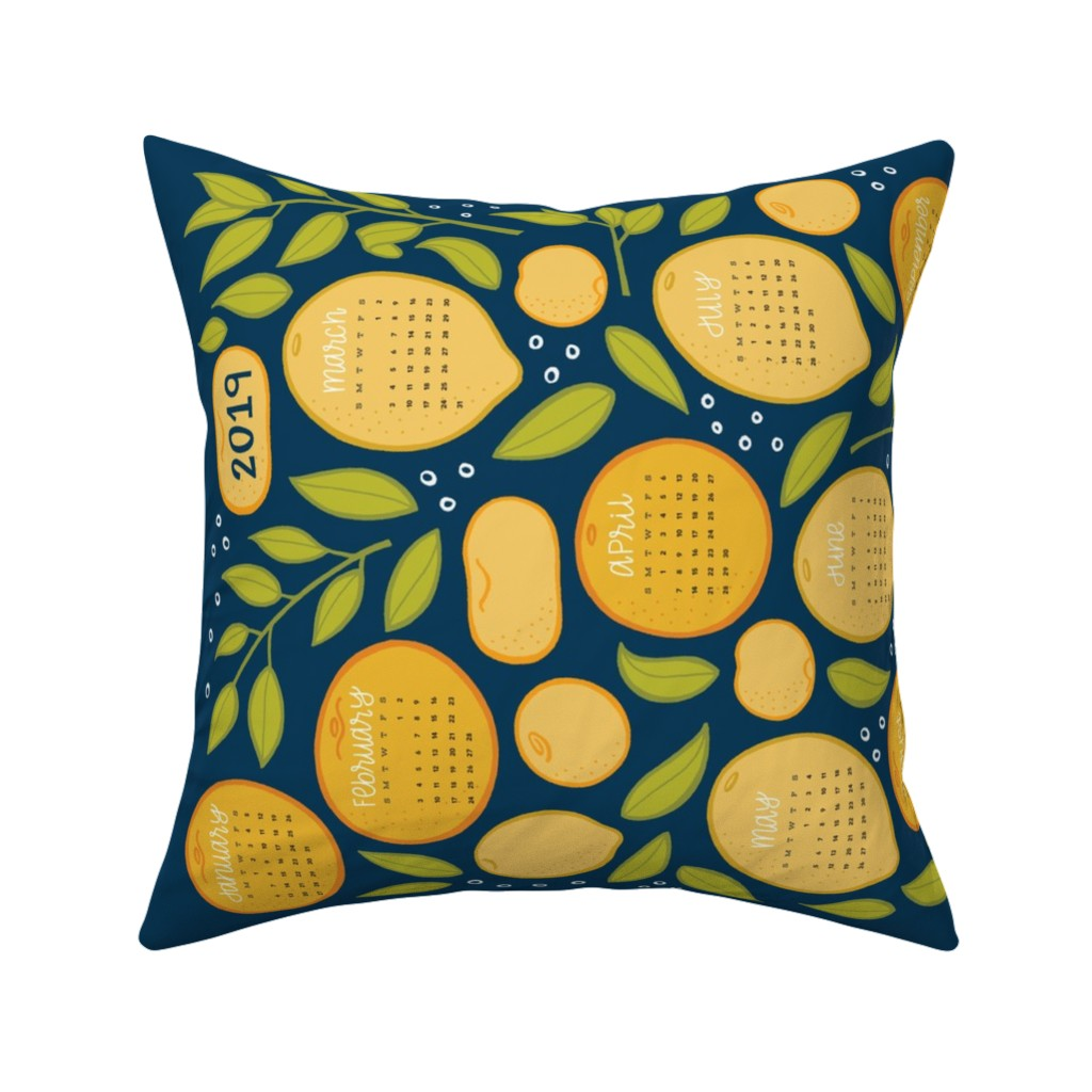 Catalan Throw Pillow featuring 2019 Citrus Tea Towel - Navy by jaymehennel