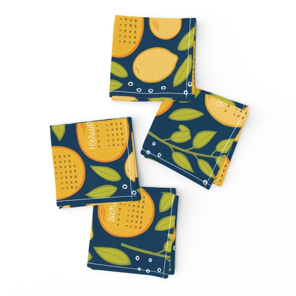 Frizzle Cocktail Napkins featuring 2019 Citrus Tea Towel - Navy by jaymehennel