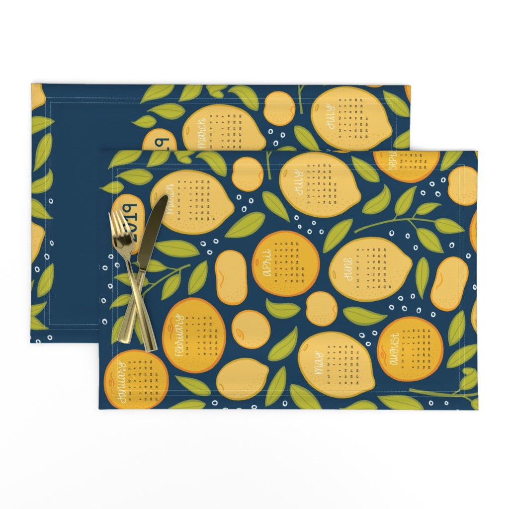 Lamona Cloth Placemats featuring 2019 Citrus Tea Towel - Navy by jaymehennel