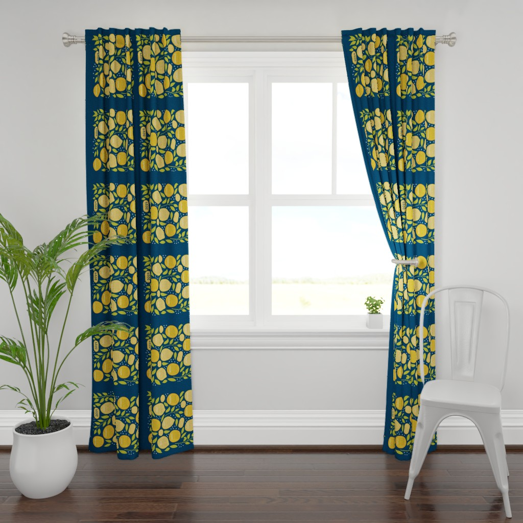 Plymouth Curtain Panel featuring 2019 Citrus Tea Towel - Navy by jaymehennel