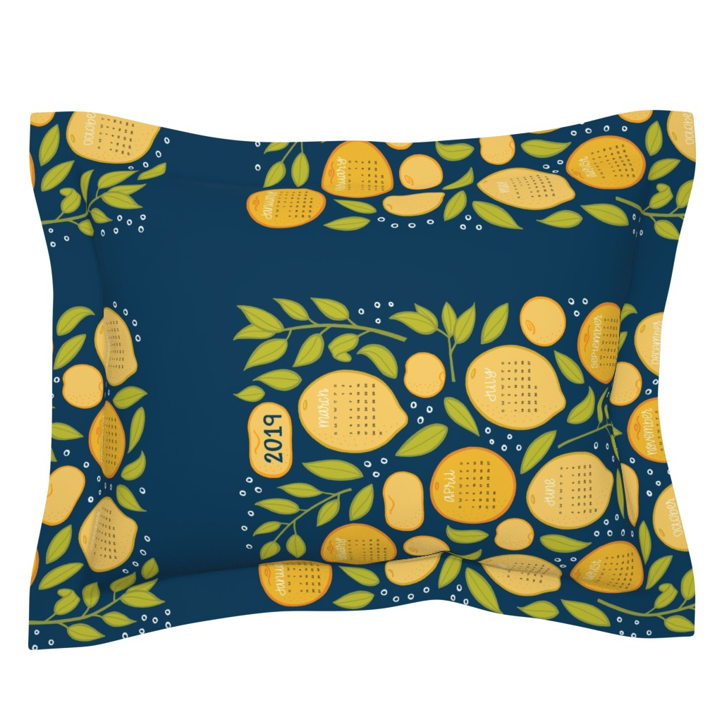 Sebright Pillow Sham featuring 2019 Citrus Tea Towel - Navy by jaymehennel