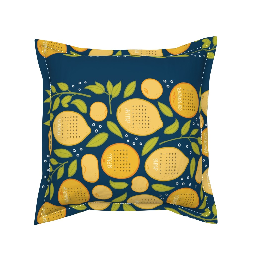 Serama Throw Pillow featuring 2019 Citrus Tea Towel - Navy by jaymehennel