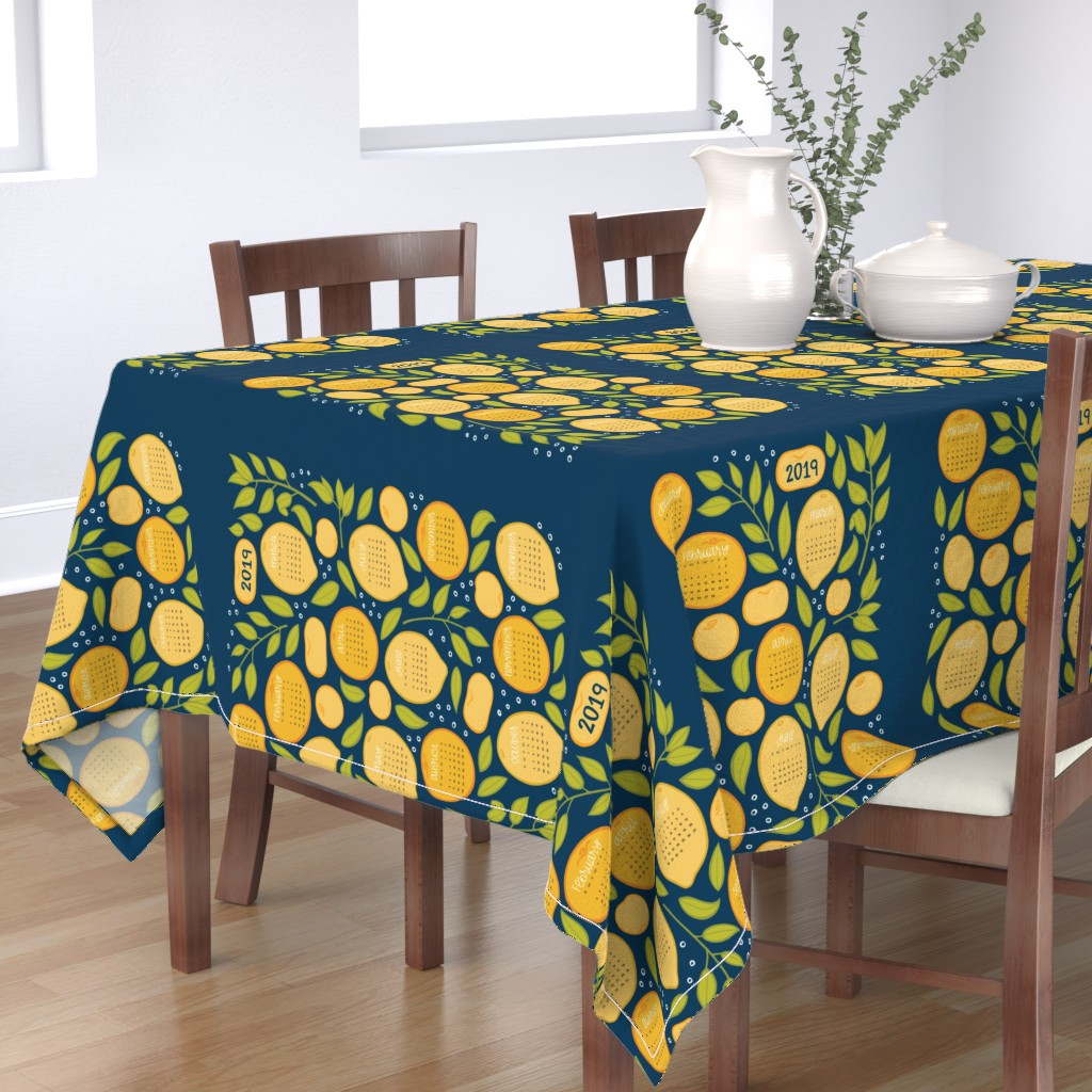 Bantam Rectangular Tablecloth featuring 2019 Citrus Tea Towel - Navy by jaymehennel