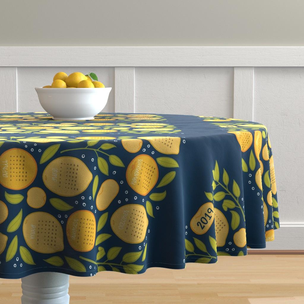 Malay Round Tablecloth featuring 2019 Citrus Tea Towel - Navy by jaymehennel
