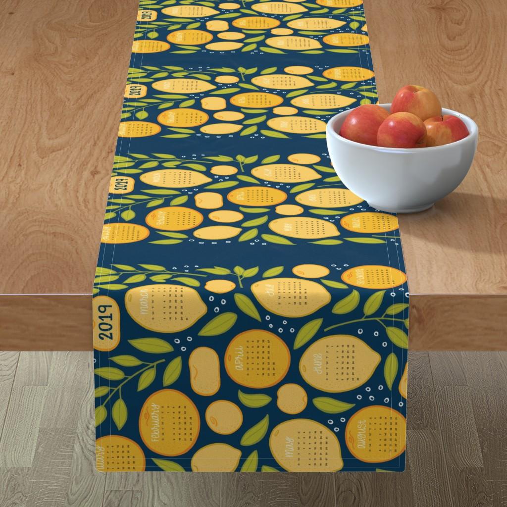 Minorca Table Runner featuring 2019 Citrus Tea Towel - Navy by jaymehennel