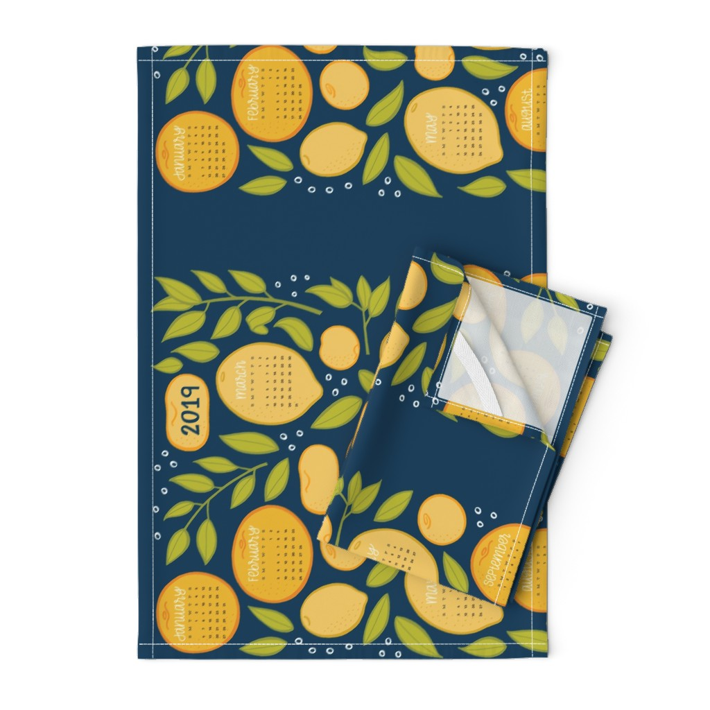 Orpington Tea Towels featuring 2019 Citrus Tea Towel - Navy by jaymehennel