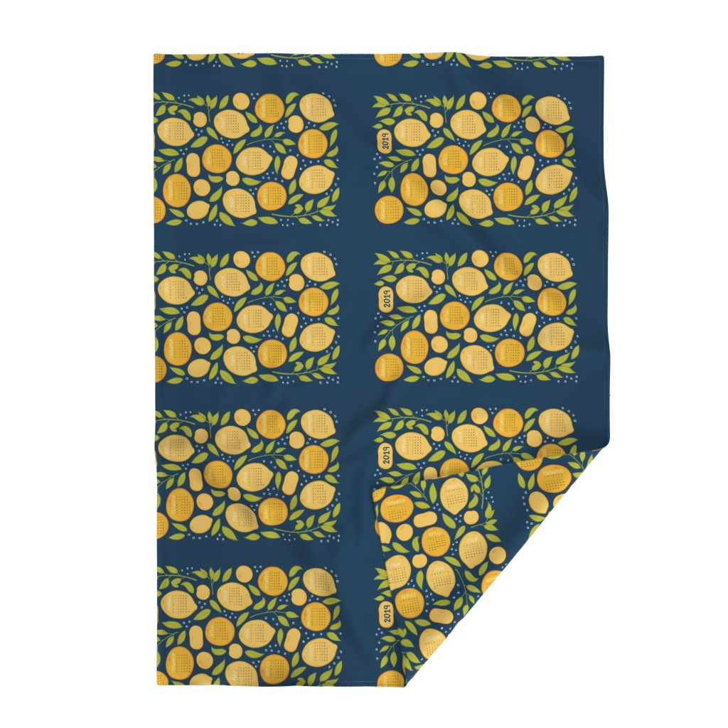 Lakenvelder Throw Blanket featuring 2019 Citrus Tea Towel - Navy by jaymehennel