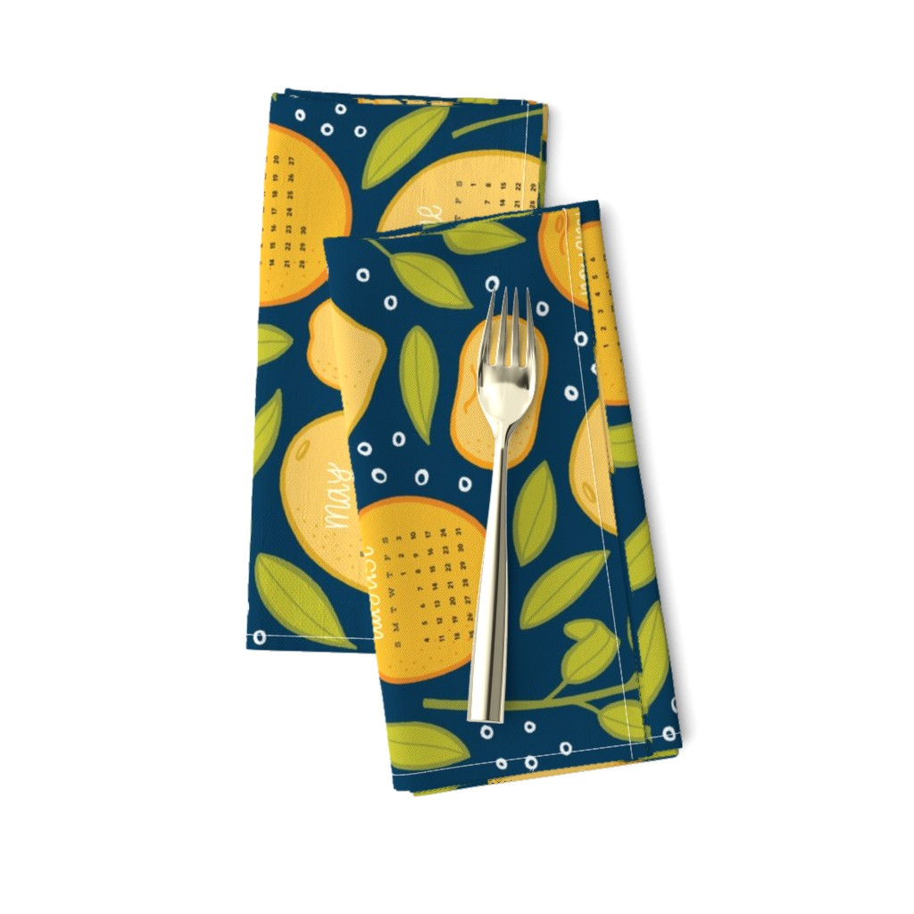 Amarela Dinner Napkins featuring 2019 Citrus Tea Towel - Navy by jaymehennel