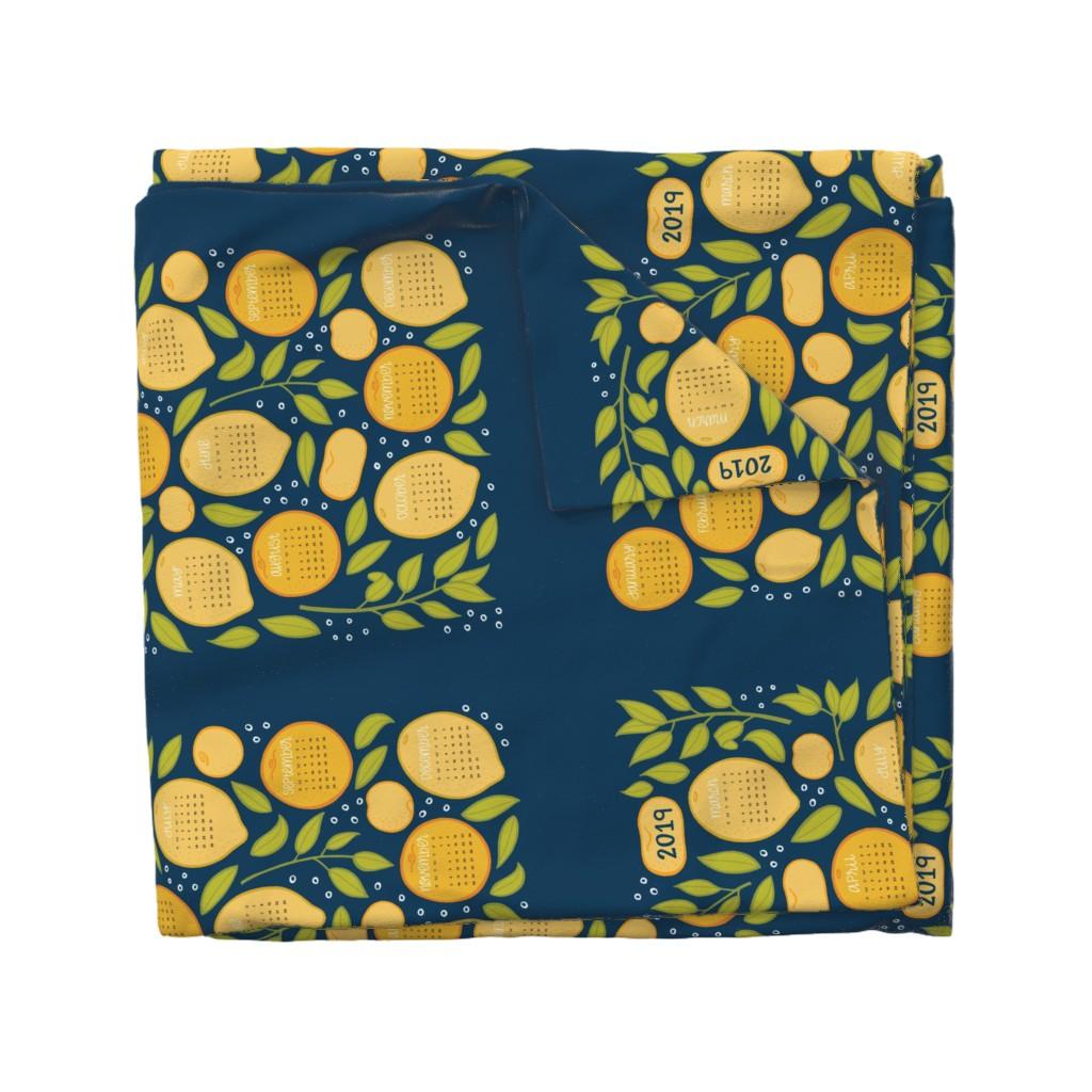 Wyandotte Duvet Cover featuring 2019 Citrus Tea Towel - Navy by jaymehennel