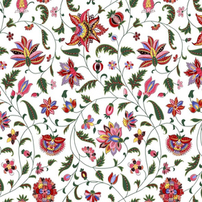 Colonial Twisting Vines and Flowers - Large Scale