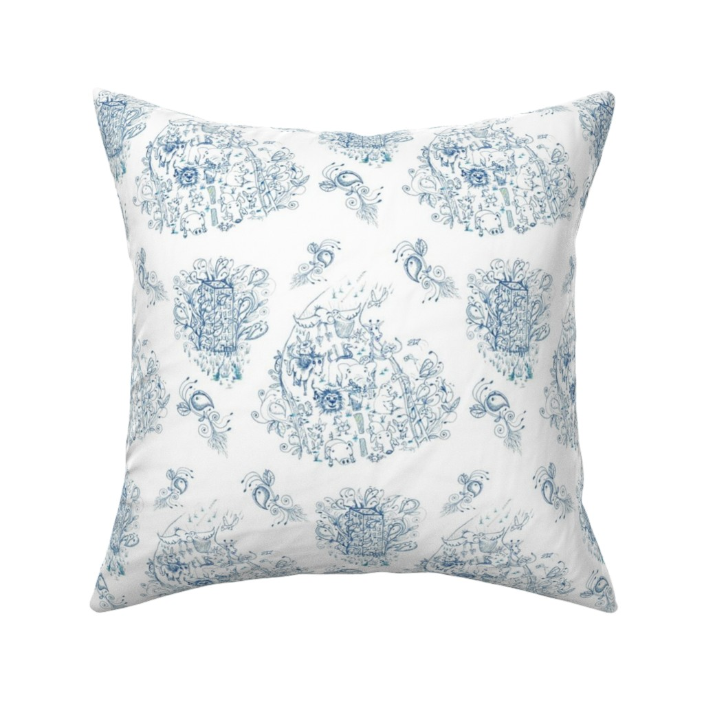 Catalan Throw Pillow featuring Mother Nature Wins, large scale, blue and white toile by amy_g