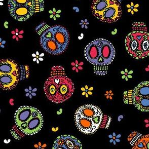 Sugar Skulls on Black - by Kara Peters