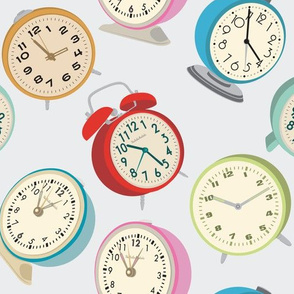 Retro Clock Fabric Design -Gray Background