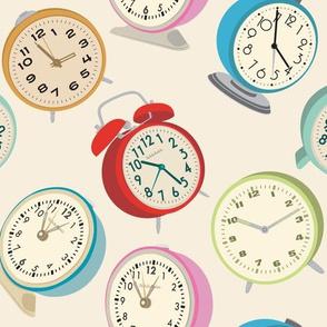 Retro Clock Fabric Design Cream Background