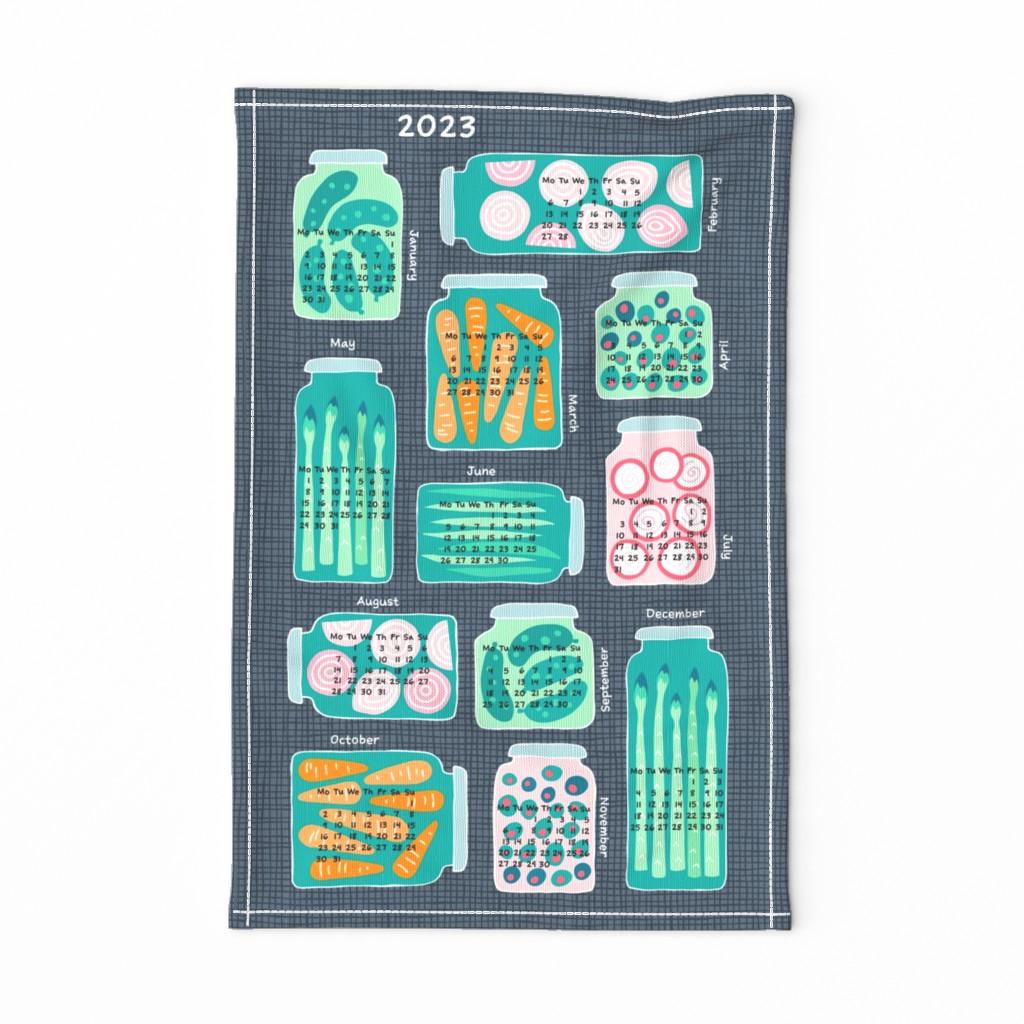 Special Edition Spoonflower Tea Towel featuring pickled veggies  tea towel calendar 2020 (dark) by heleen_vd_thillart