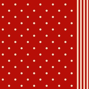 dots and stripes Turkey Red and cream