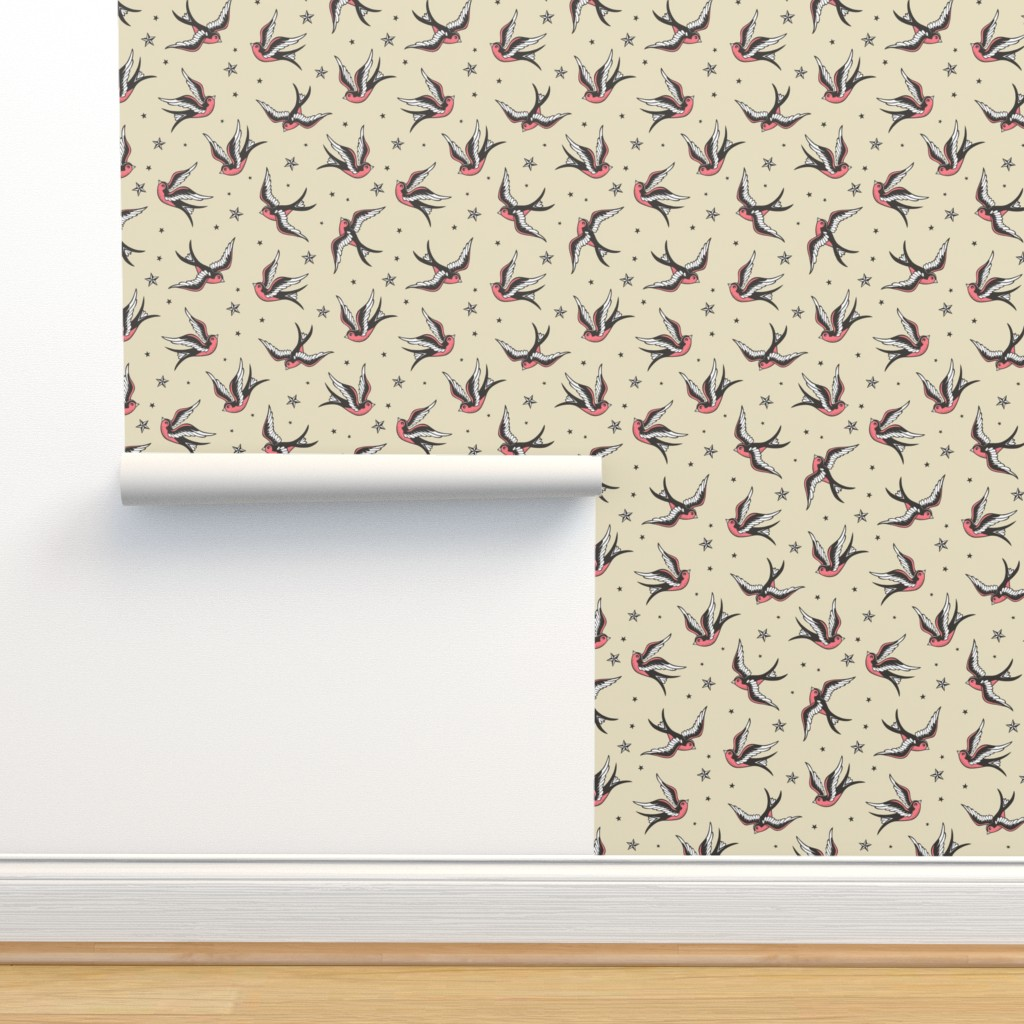 Isobar Durable Wallpaper featuring Swallow  by caja_design