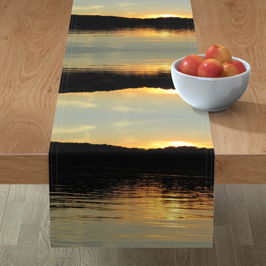 Minorca Table Runner featuring Back Bay Sunrise by kittykittypurrs
