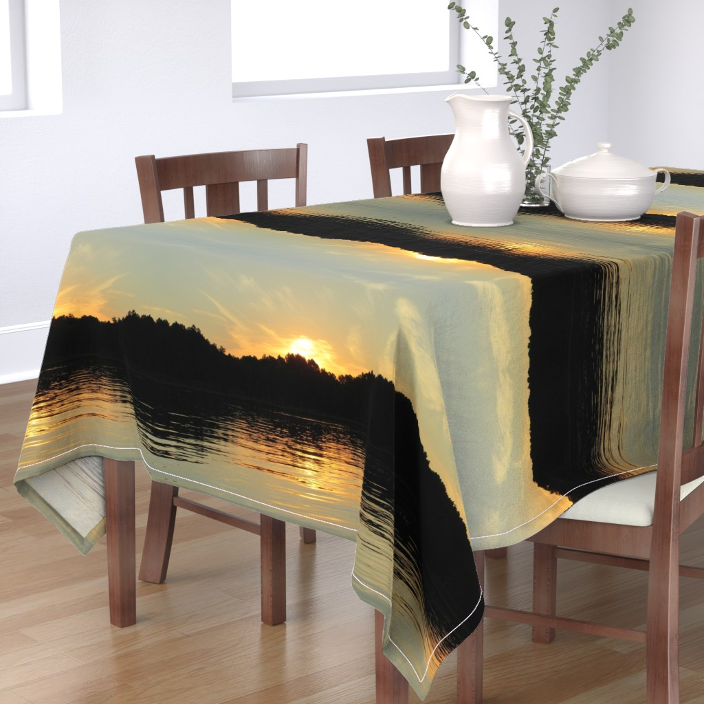 Bantam Rectangular Tablecloth featuring Back Bay Sunrise by kittykittypurrs