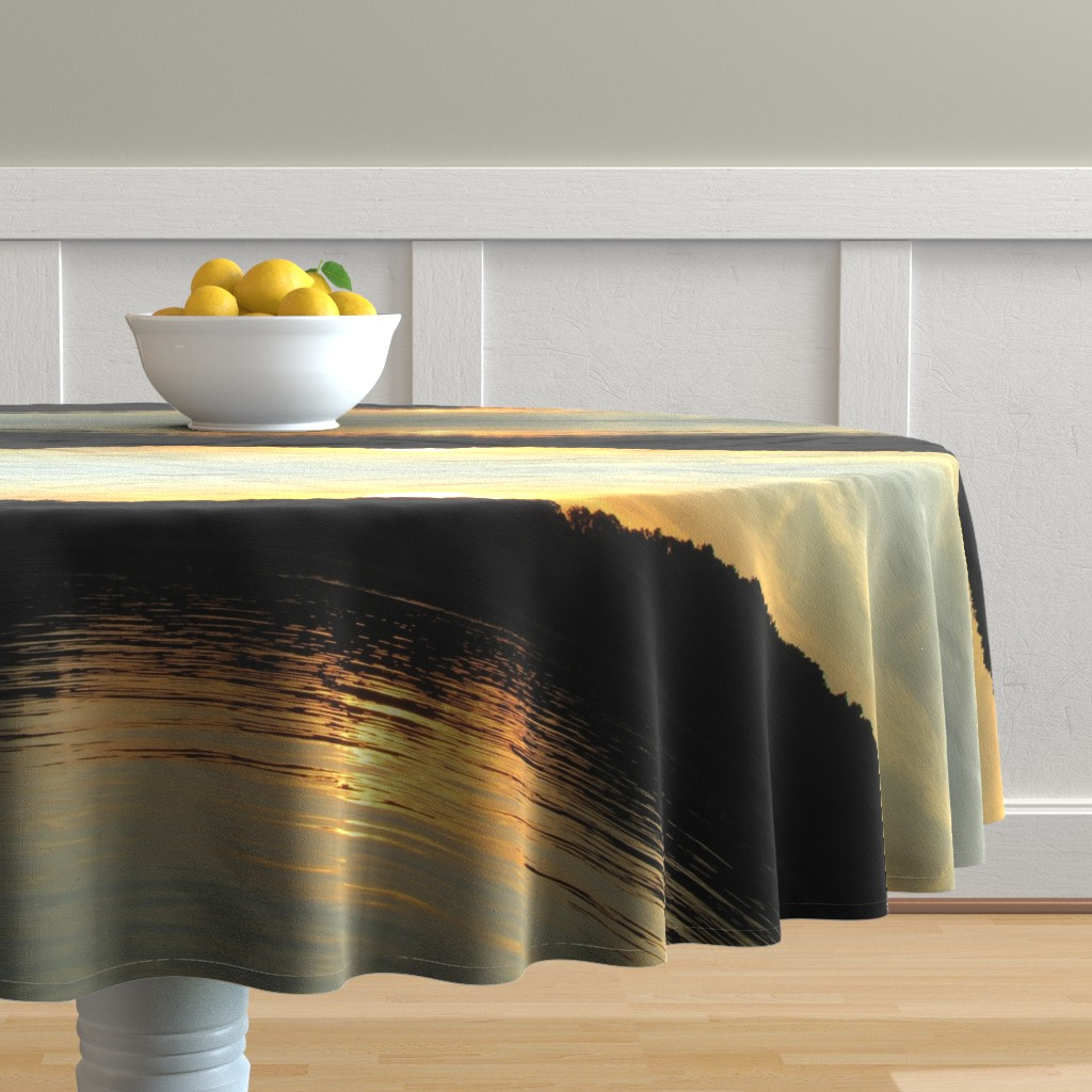 Malay Round Tablecloth featuring Back Bay Sunrise by kittykittypurrs