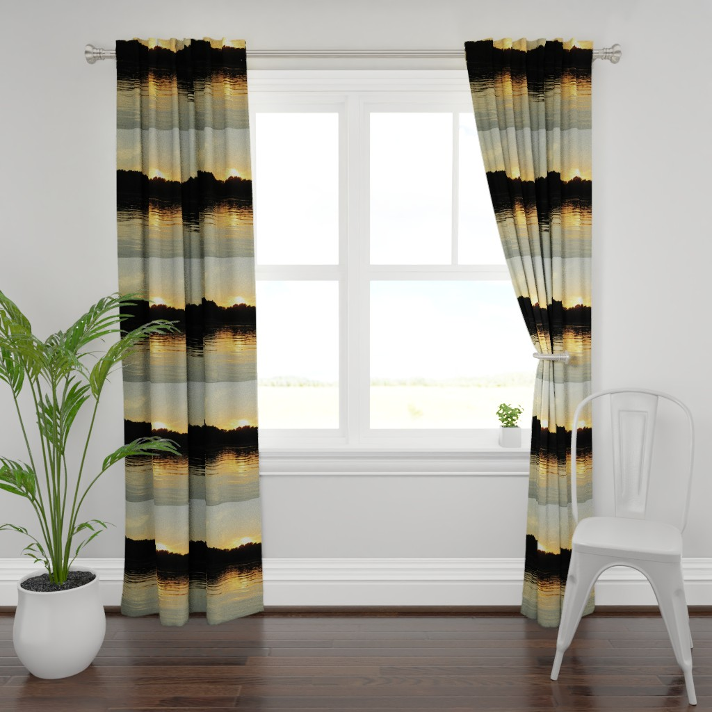 Plymouth Curtain Panel featuring Back Bay Sunrise by kittykittypurrs