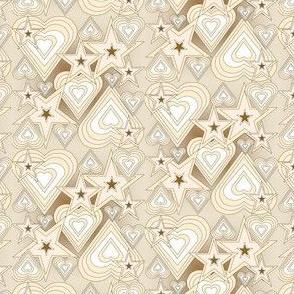 Primitive Hearts and Stars Fabric