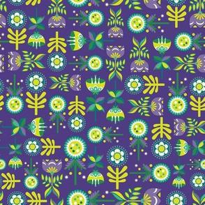 Hones Meadow Flowers on Purple
