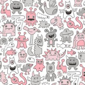Monsters in Pink Grey