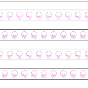 Fuschia Doodle Skull with Stripes
