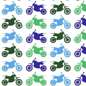 Large Dirt Bikes - blues and greens