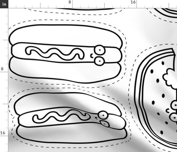 Hot Dog And Watermelon Plushie Black A Spoonflower