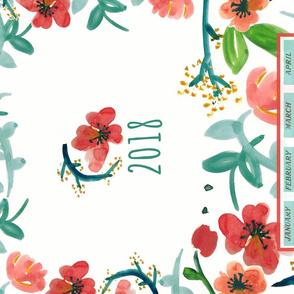 2018 Watercolor Floral Tea Towel Calendar