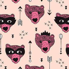 Cool woodland grizzly bears hipster indian arrows and super hero mask illustration for kids pink pale for girls