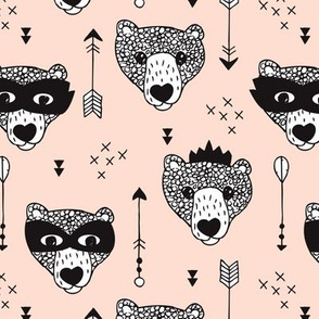 Cool woodland grizzly bears hipster indian arrows and super hero mask illustration for kids gender neutral pale black and white