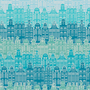 Blue pattern with old buildings