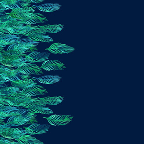 Green Watercolor Leaves on Navy border print