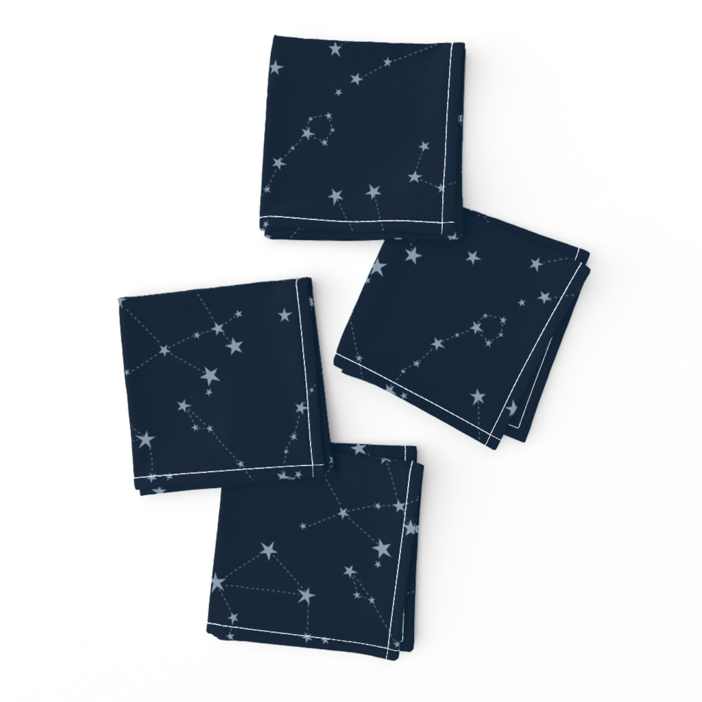 Frizzle Cocktail Napkins featuring stars in the zodiac constellations - light blue on navy blue by eleventy-five