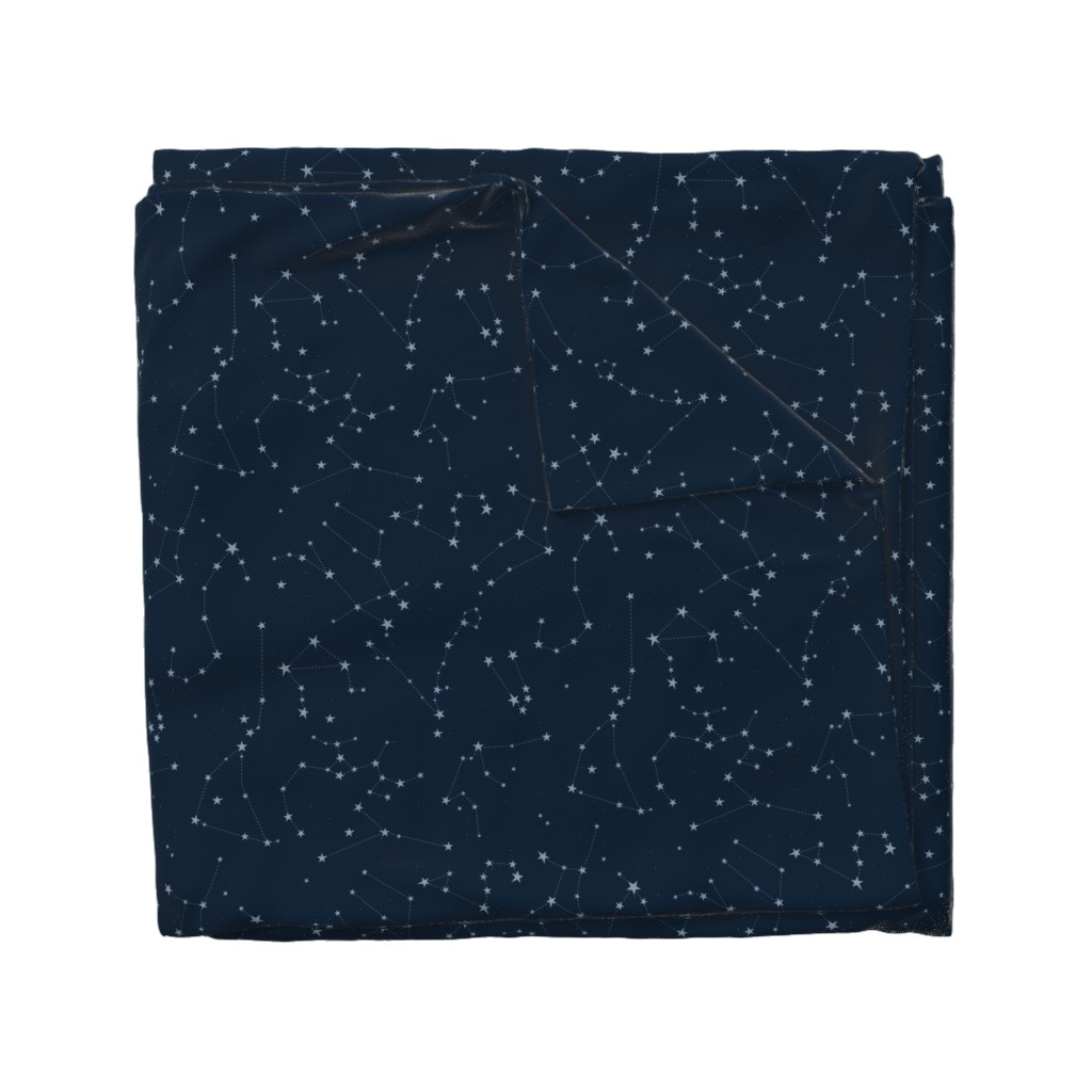 Wyandotte Duvet Cover featuring stars in the zodiac constellations - light blue on navy blue by eleventy-five