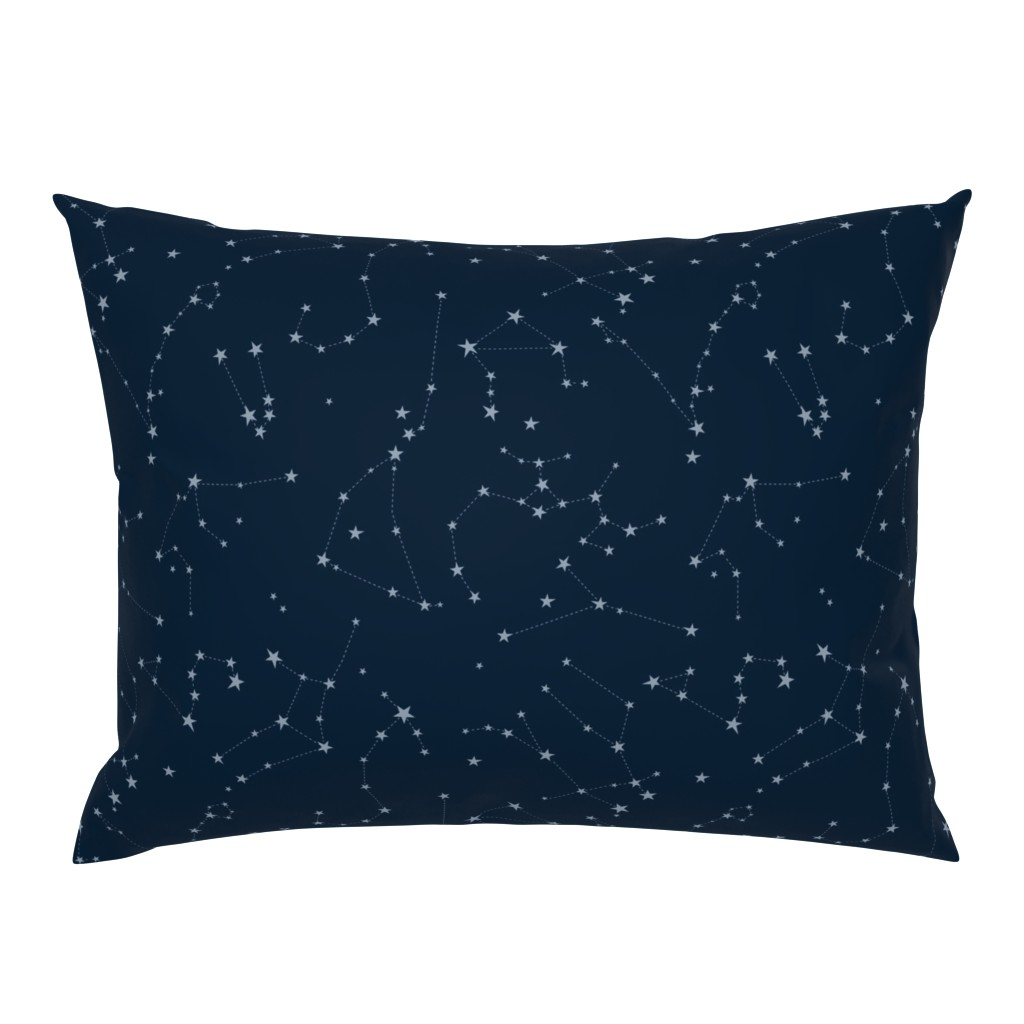 Campine Pillow Sham featuring stars in the zodiac constellations - light blue on navy blue by eleventy-five
