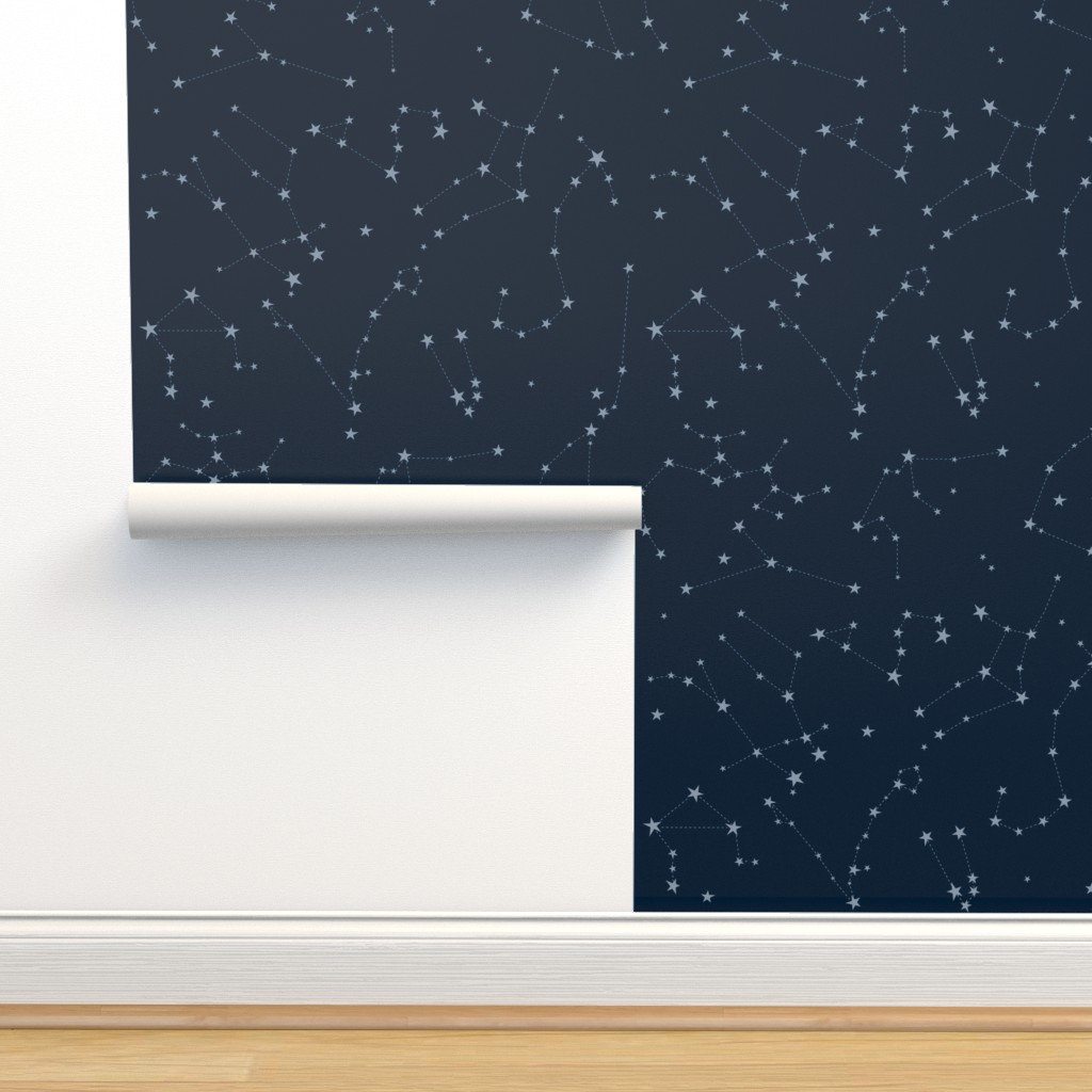 Isobar Durable Wallpaper featuring stars in the zodiac constellations - light blue on navy blue by eleventy-five