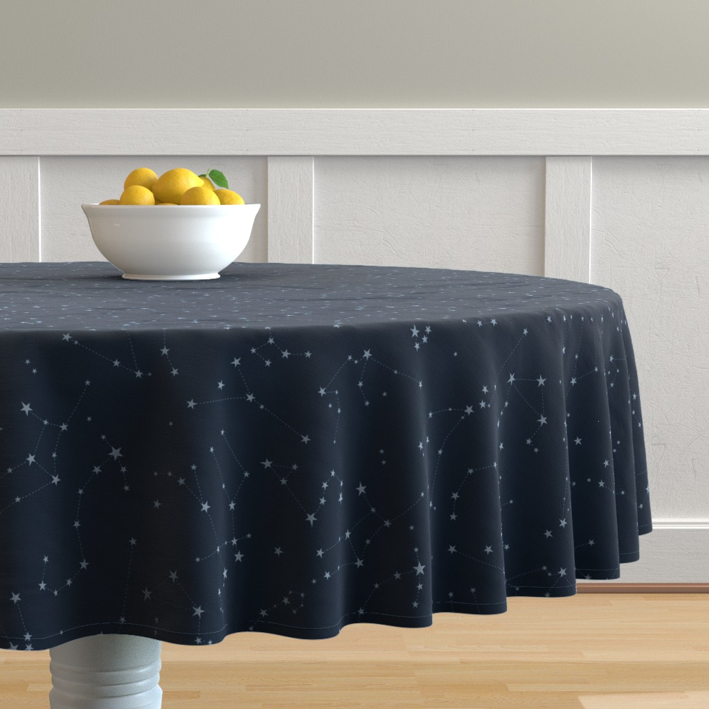 Malay Round Tablecloth featuring stars in the zodiac constellations - light blue on navy blue by eleventy-five