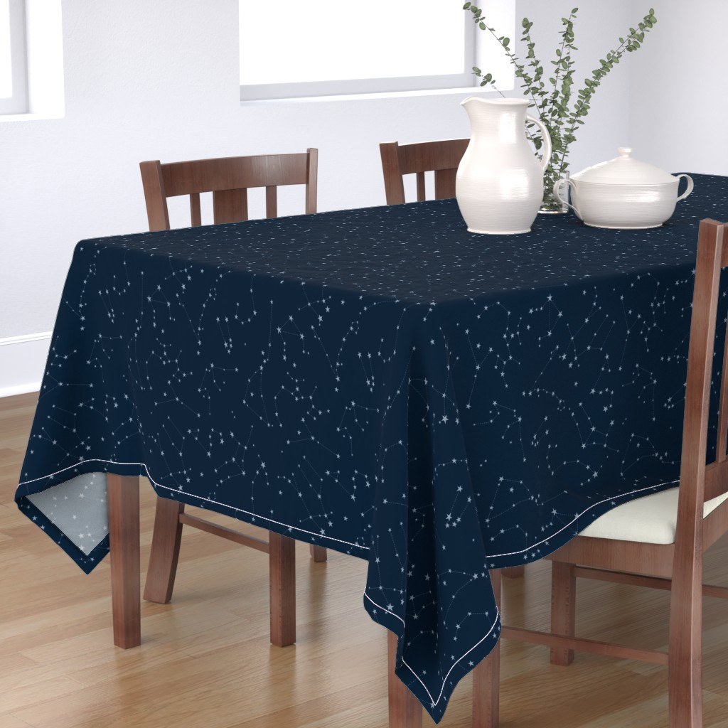 Bantam Rectangular Tablecloth featuring stars in the zodiac constellations - light blue on navy blue by eleventy-five