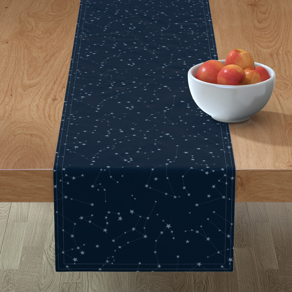 Minorca Table Runner featuring stars in the zodiac constellations - light blue on navy blue by eleventy-five