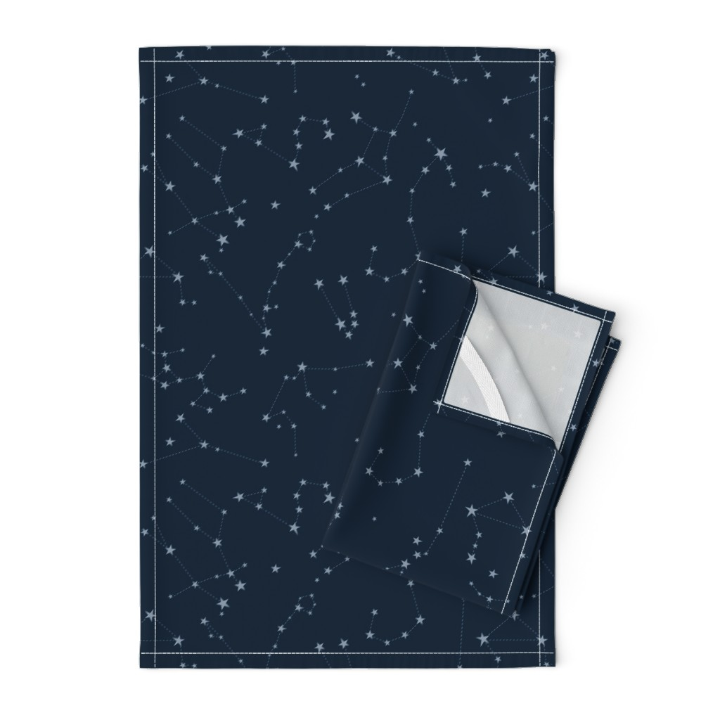 Orpington Tea Towels featuring stars in the zodiac constellations - light blue on navy blue by eleventy-five