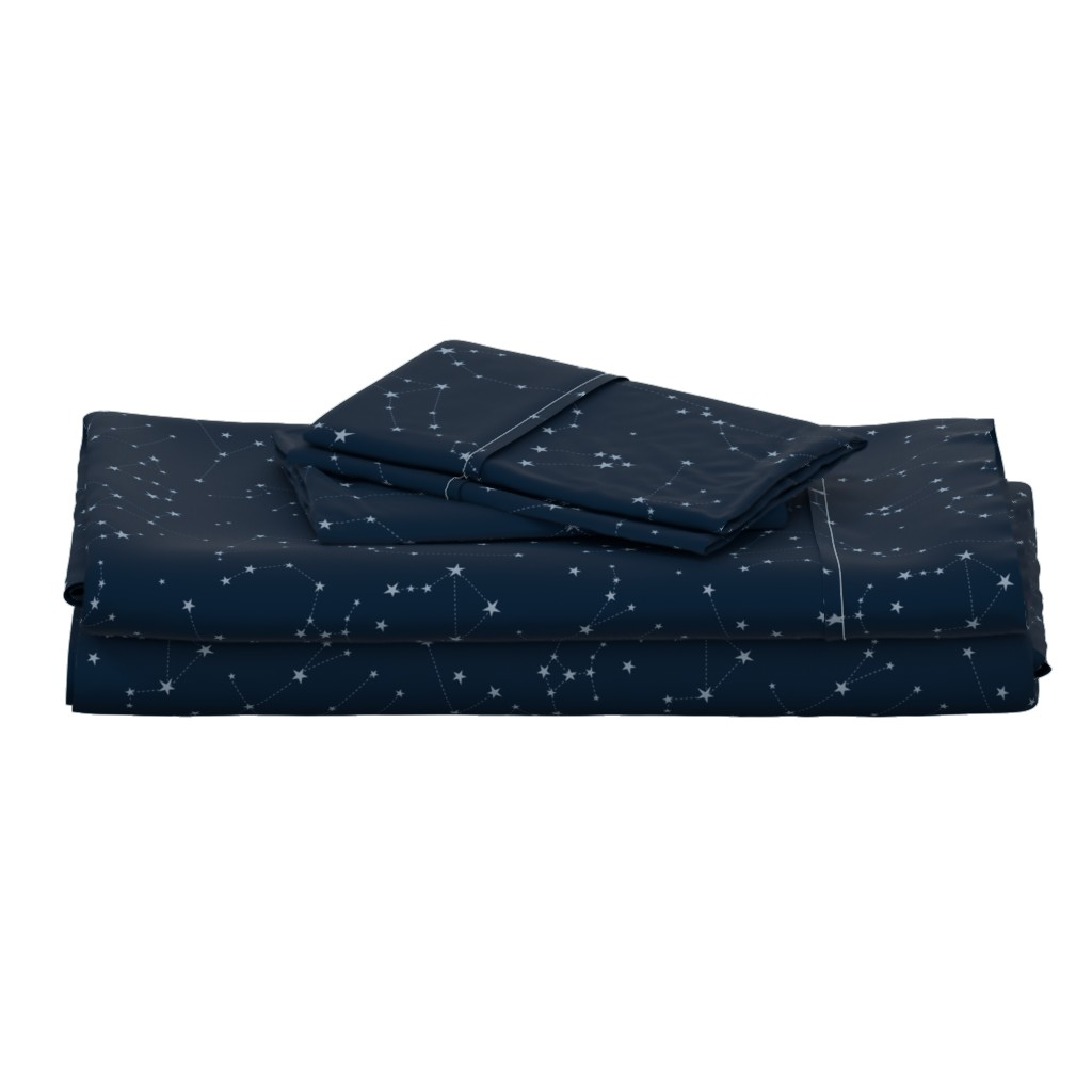 Langshan Full Bed Set featuring stars in the zodiac constellations - light blue on navy blue by eleventy-five