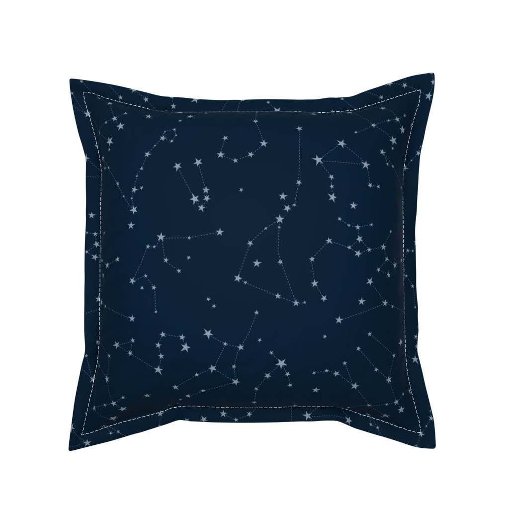 Serama Throw Pillow featuring stars in the zodiac constellations - light blue on navy blue by eleventy-five
