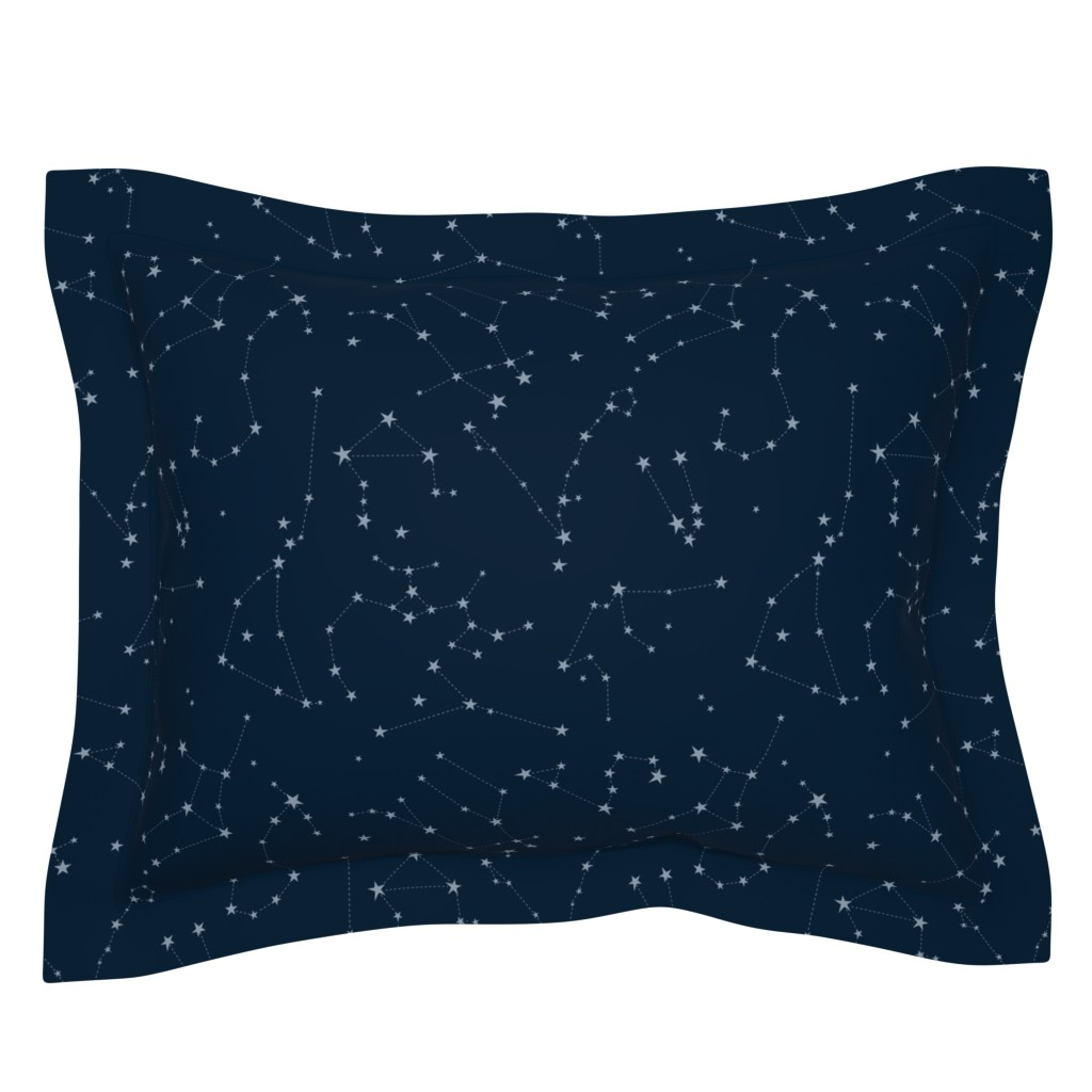 Sebright Pillow Sham featuring stars in the zodiac constellations - light blue on navy blue by eleventy-five